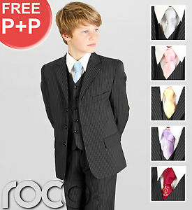 BOYS-5-PIECE-BLACK-PINSTRIPE-PAGEBOY-WEDDING-PROM-COMMUNION-SUIT-1-13-YEARS