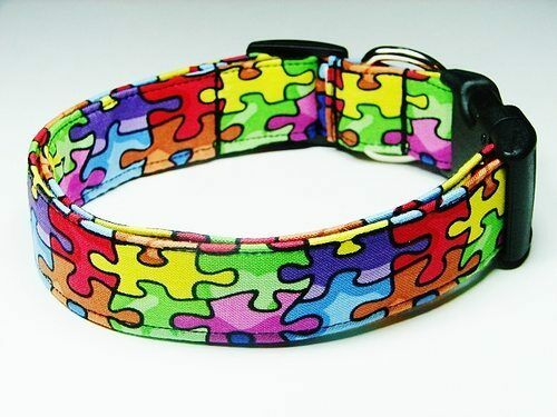 Charming Autism Awareness Puzzle Pieces Dog Collar Medium