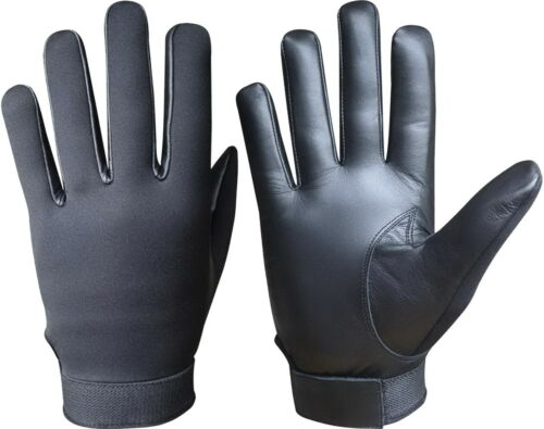 NEOPRENE SECURITY POLICE SEARCH TACTICAL SIA FULLY KEVLAR LINED LEATHER GLOVES