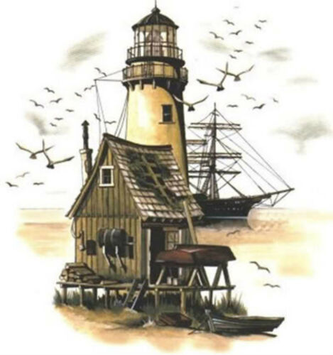 Lighthouse Ship Birds Select-A-Size Waterslide Ceramic Decals Hx