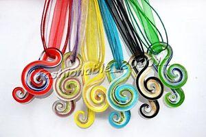 Wholesale-24X-symbol-Murano-Glass-Pendant-Silk-silver-Tone-Necklace-FREE