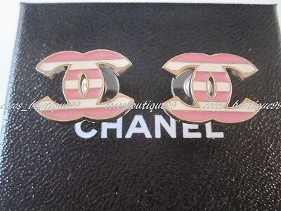 Auth CHANEL 13C Huge CC Strip Pink White Logo Earrings Rare NEW