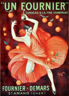 Un Fuournier fine champagne Ad Decorative Poster. Home Graphic Art Design. 3819