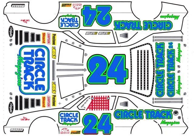 #24 Circle Track Blue Numbers 1/43rd Scale Slot Car Waterslide Decals