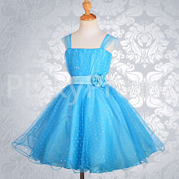 bfbe39328 Sequined Blue Wedding Flower Girl Bridesmaid Party Occasion Dress ...