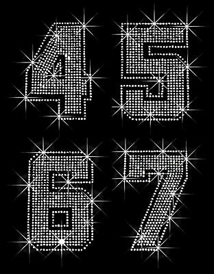 JERSEY NUMBER 0-9 RHINESTONE IRON ON TRANSFER FOR SHIRT