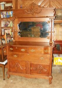 Quartersawn Oak Carved Sideboard Buffet Hutch Dr44 Ebay
