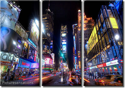 Framed Huge 3 Panel City NYC Manhattan Times Square