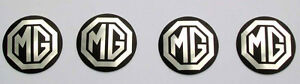 Set-of-4-MGB-Rostyle-Wheel-Centre-Silver-amp-Black-Metal-Badges-MG-part-AHH9268
