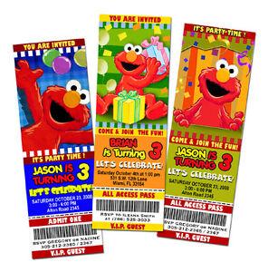 elmo sesame street birthday party invitation ticket 1st, Party invitations