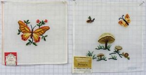2-VINTAGE-PRE-WORKED-NEEDLEPOINT-CANVAS-TAPESTRIES-BUTTERFLIES-0449