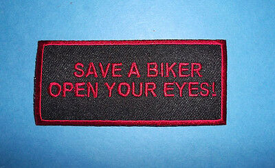 SAVE A BIKER  OPEN YOUR EYES PATCH