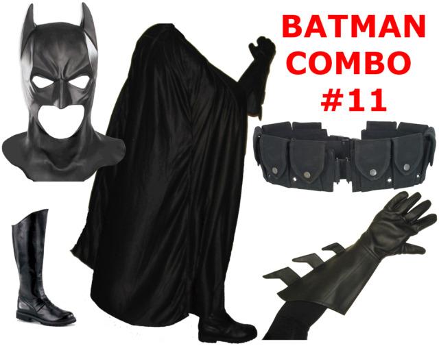 BATMAN The Dark Knight Rises costume mask cowl, cape, gloves, boots, black belt