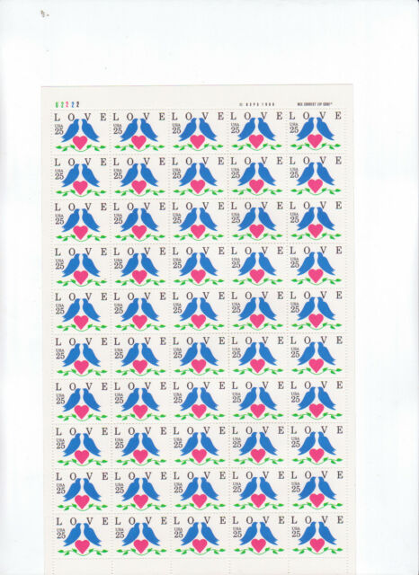 LOVE, Doves & A Heart Sheet of 50 x 25 Cent US Postage Stamps NEW Scot 2440