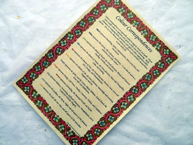 COLOUR CORRESPONDENCE PARCHMENT POSTER wicca wiccan pagan book of shadows BOS