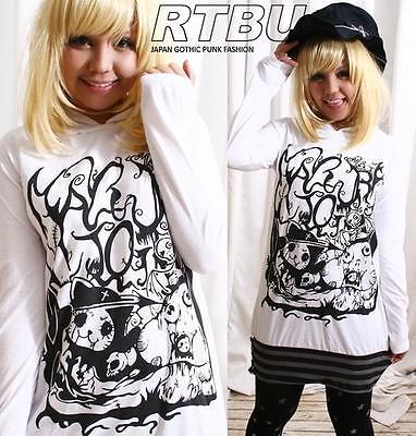 CUTiE Punk ANGRY KILLER KITTY Cat Ear Hooded Hoody Dress Shirt White