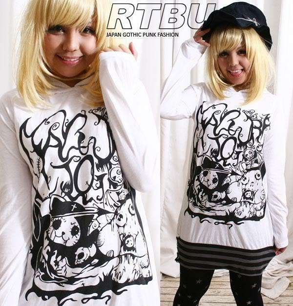CUTiE Punk ANGRY KILLER KITTY Cat Ear Hooded Hoody Dress Shirt White