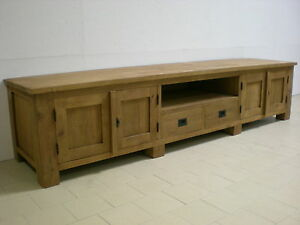 teak tv phono lowboard 60x250x55 teakholz antik tv schrank tv rack sideboard ebay. Black Bedroom Furniture Sets. Home Design Ideas