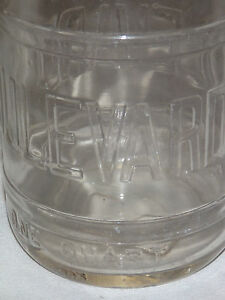 VINTAGE 1930-40S BOULEVARD 1 QUART EMBOSSED MILK BOTTLE