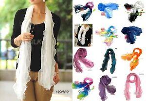 Womens-Ladies-100-Silk-Georgette-Long-Scarf-11-x70-SC075