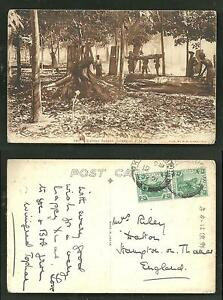 Rubber-Estate-Men-Selangor-Malaysia-2-stamps-1921