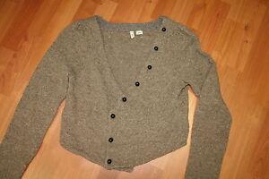 Moth-Anthropologie-Brown-Cropped-Cardigan-Sweater-jacket-Knit-Wool-Blend-L