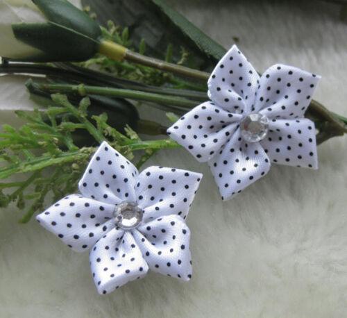 40pcs ribbon flower with stone Appliques wedding DIY craft Lots Mix U pick E156
