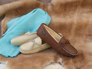 Women-039-s-Softsole-Deertan-Leather-Slippers-Sheepskin-Lining-Sizes-4-10-Made-USA