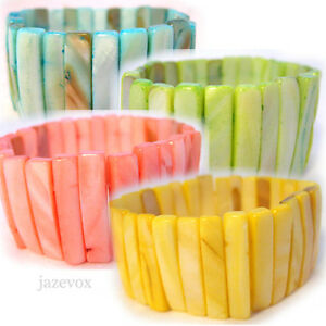 NEW-Women-BLUE-YELLOW-PINK-GREEN-Wide-BRACELET-MOTHER-of-PEARL-SHELL-SHELLS-Bead