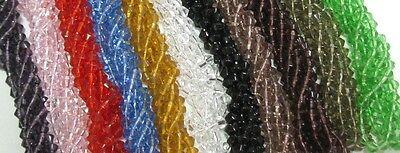 80 Kristallperlen Kristall Perlen Glasperlen Doppelkegel Bicone 4mm Farbauswahl