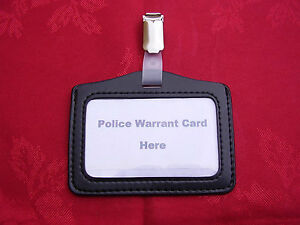 Black-ID-Pass-Warrant-Card-Badge-Holder-Plastic-Metal-Belt-Clip-POLICE-CO19-L