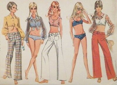Blouse Top Pants Bathing Suit Sewing Pattern Size 9 Junior Petite 1969 Uncut
