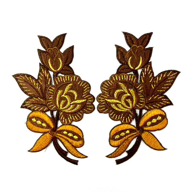 I0613 x1Pair (2pcs) Brown Rose Flower Bow Ribbon Iron On Patch Embroidered Craft