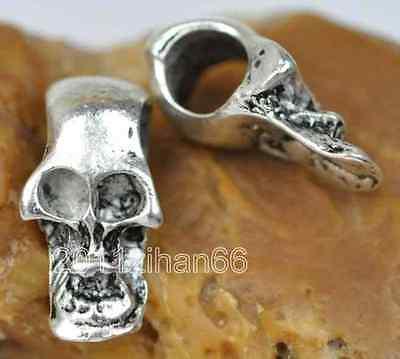 10pcs Tibetan Silver skull Beads Fit European Bracelet charm spacer bead B138