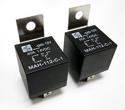 (2) 12V 12 Volt 60A Automotive Relays 60 Amp Metal Mounting Tab SPDT Bosch Style
