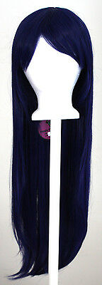 32'' Long Straight Long Bangs Midnight Blue Cosplay Wig NEW