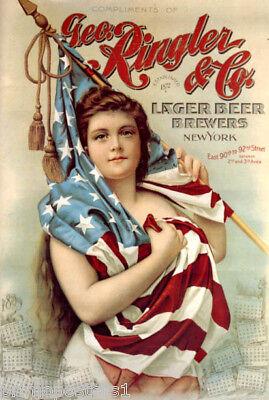 GEO RINGLER LARGER BEER BREWERS NEW YORK GIRL AMERICAN FLAG VINTAGE POSTER REPRO