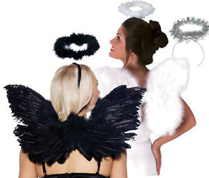 Wings-amp-Halo-Black-Feather-White-Feather-Silver-Halloween-Costume-Accessories