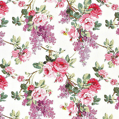 """Canvas 100% Cotton Upholstery Curtain Fabric Elegant Floral shabby Rose Pink 60"""""""