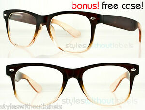 image is loading retro 80s clear lens brown frame nerd geek