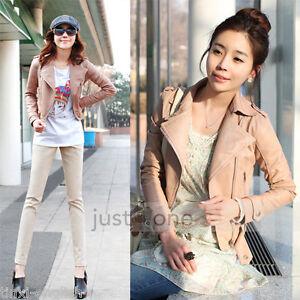 NEW-Women-039-s-Slim-Designed-Sexy-Fashion-Zipper-PU-Leather-Short-Jacket-Coat-2SIZE