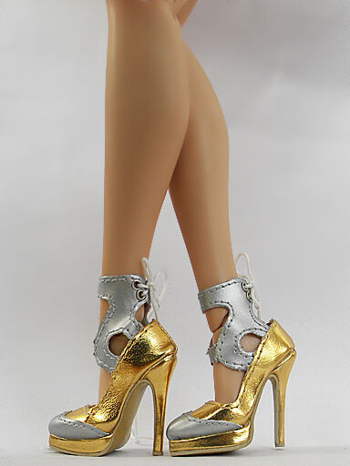 Sherry Fashion Silver and Gold Shoes/Sandals for Tyler/Sybarites Doll (60-TS-3