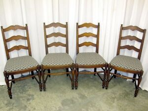 Set-of-4-Antique-Ladder-Back-Dining-Room-Chairs-Great-Cond-Milwaukee-Chair-Co-WI