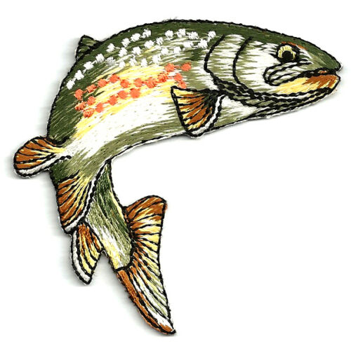 Fishing - Fish Patch - Trout - Embroidered Iron On Patch - Style A