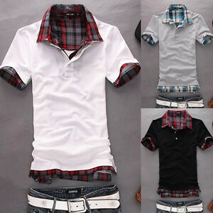 Mens-Casual-Slim-Fit-Polo-Shirt-T-shirts-Tee-Shirt-E671-4SIZE-3COLOR