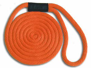 "3/8"" x 15' Solid Braid Dock Lines - Orange - Made in USA"