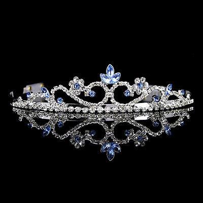 3cm High Blue Crystal Wedding Bridal Bridemaid Prom Party Tiara Headband