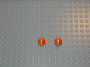 Lego-2x-NEW-Orange-Minifig-Head-Pumpkin-Jack-O-Lantern-City-Town-Halloween