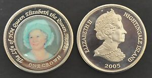 NIGHTINGALE-ISLAND-RARE-COLORED-1-CROWN-UNC-COIN-2005-YEAR-QUEEN-MOTHER-INBLUE