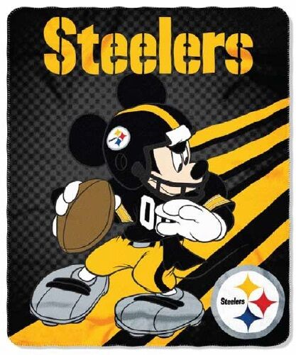 "NFL Licensed Pittsburgh Steelers Football Mickey Mouse  50""x60"" Fleece Throw NEW"